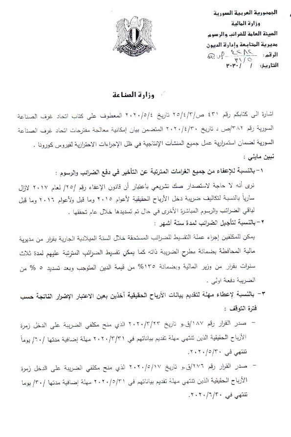 غرفة صناعة سوريا أجوبة وزارة المالية على مقترحات اتحاد غرف